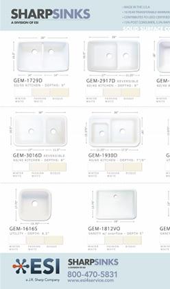 ESI SHARPSINKS Gemstone Solid Surface Sink Flyer