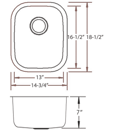 LB-1000 stainless sink measurement