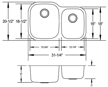 LB-200 Stainless sink measurement