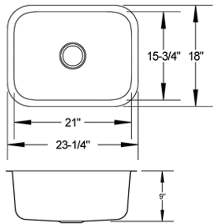 LB-700 - stainless sink measurement