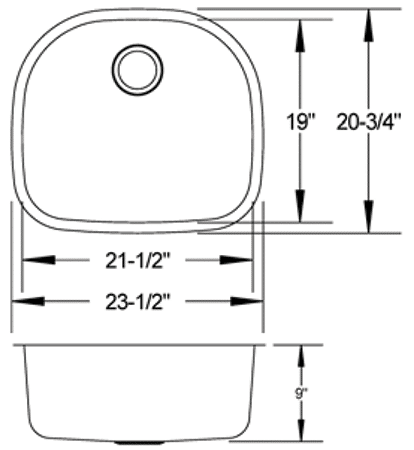 LB-800 - stainless sink measurement