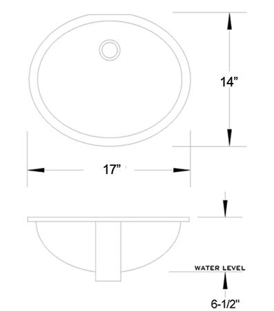 VC-1714 vitreous china sink measurement