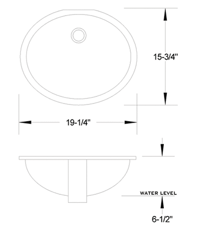 LS-1916 vitreous china sink measurement