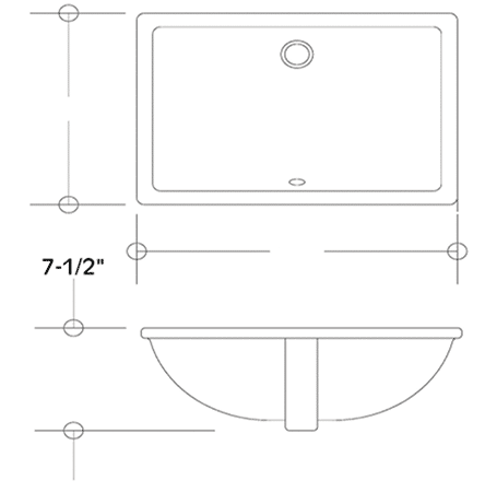 LS-2014 vitreous china sink measurement