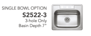 Stainless steel sink single bowl option