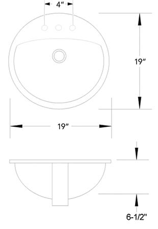 VC - 1919 vitreous china sink