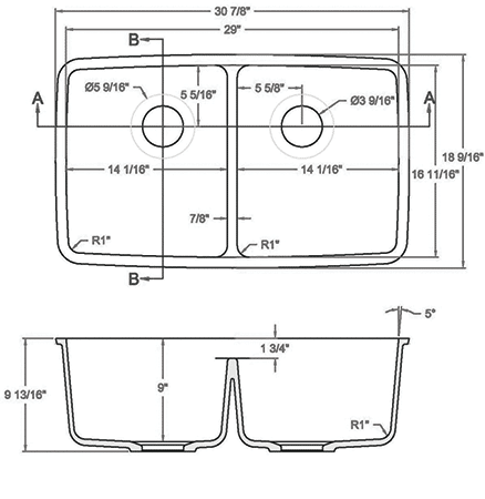 GEM-1729D solid surface sink measurement